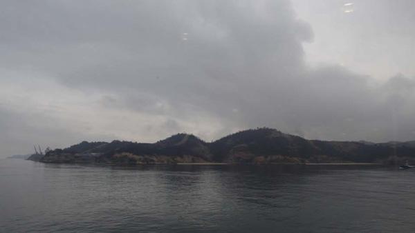 瀬戸内海に浮かぶ直島