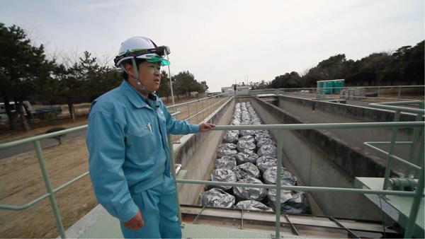 震災後の処理した脱水汚泥も放射能で処理できずそのまま