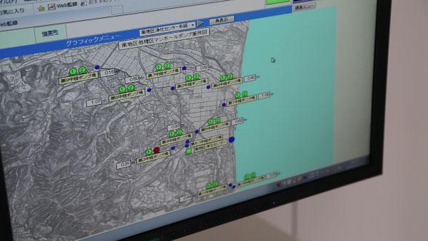 町内各所で稼働するポンプの状況が一目で分かる画面には、町内各所のポンプの様子が表示されていました。