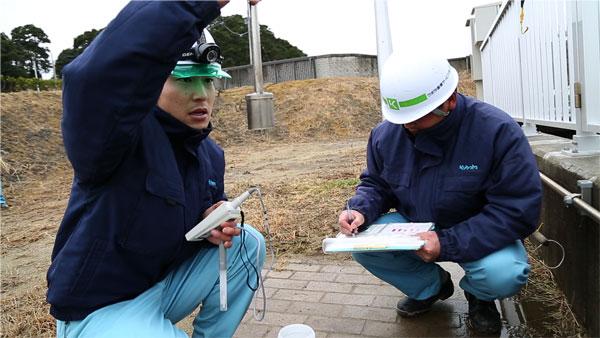 北地区浄化センターでも放射線の測定や水質の検査など<br /> 毎日の仕事が始まっています